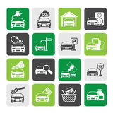 Silhouette Car and road services icons Royalty Free Stock Photos