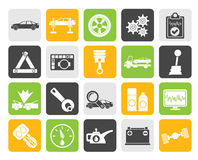 Silhouette car services and transportation icons Stock Images