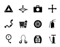 Silhouette car and transportation equipment icons Royalty Free Stock Photography