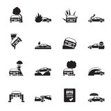 Silhouette car and transportation insurance and risk icons. Vector icon set Royalty Free Stock Images