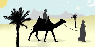 Silhouette of Caravan mit people and camels wandering through the deserts with palms at night and day. Vector. Illustration. EPS10 Royalty Free Stock Images