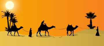 Silhouette of Caravan mit people and camels wandering through the deserts. With palms at night and day. Vector Illustration. EPS10 Stock Image