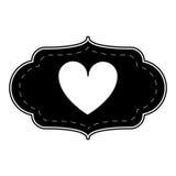 Silhouette card love heart ornament Stock Photos