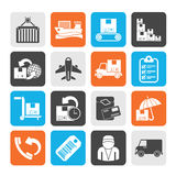 Silhouette Cargo, shipping and delivery icons Royalty Free Stock Photos