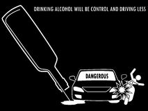 Silhouette caricature of a drunken car fell out of the road cras Stock Photography