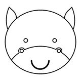 silhouette caricature face cute bull animal Stock Image