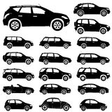 Silhouette cars. Large collection of silhouettes of cars, element for design,  illustration Royalty Free Stock Photo