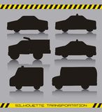 Silhouette cars. Black silhoette cars over gray background. vector illustration Stock Photography