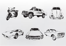 Silhouette cars. Vector illustration of old vintage custom collector's cars and motorcycle Stock Image