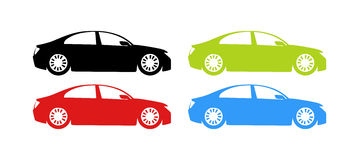 Silhouette of Cars in different colors Stock Photos