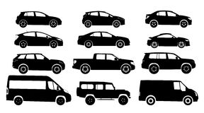 Silhouette cars on a white background. Vector illustration Stock Illustration