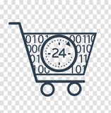 Silhouette cart  online store 24 hours. Icon, silhouette, shopping cart in a linear style. Copeption sale in online store 24 hours Stock Image