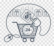 Silhouette cart  store 24. Icons , silhouette of shopping carts and shopping, gift in a linear style. The concept sale  in the store 24 hours Stock Image