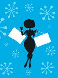 Silhouette Cartoon Woman shopping. Silhouette Cartoon Woman with Shopping Bags in hands with text place. One of series of cartoon illustrations stock illustration
