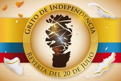 Silhouette cassée de vase à fleur dans le bouton pour le Jour de la Déclaration d'Indépendance colombien, illustration de vecteur Image stock