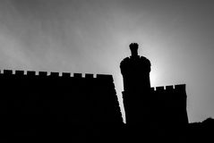 Silhouette of Castelo de Montereal in Baiona Stock Images