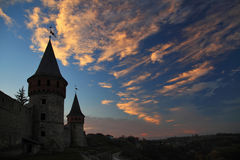 Silhouette of the castle Stock Photography