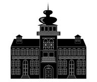 Silhouette of a castle in baroque or renaissance style in white and black design Stock Images
