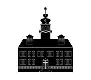 Silhouette of a castle in baroque or renaissance style in white and black design Stock Photo