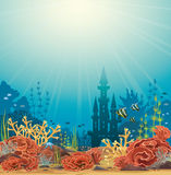 Silhouette of castle and coral reef. Silhouette of underwater castle and colorful coral reef with tropical fishes. Vector seascape illustration Stock Photo