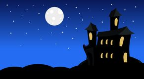 Silhouette Castle With Ghosts In Moonlight Scary Shadows Happy Halloween Banner Trick Or Treat Concept Holiday. Flat Vector Illustration Stock Photo