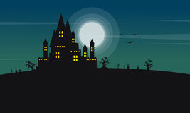 Silhouette of castle and moon Halloween landscape Stock Image