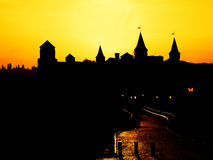 Silhouette of the castle at sunset. Silhouette of the old castle at sunset Stock Photo