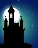 Silhouette of castle under full moon Royalty Free Stock Photos