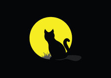 Silhouette of a cat. On a background of the full moon Royalty Free Illustration