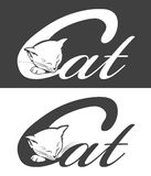 Silhouette of cat. Black & white silhouette of sleeping cat. Vector illustration Stock Photo
