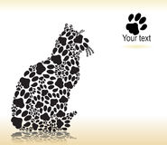Silhouette of cat from the cat paws. For print Stock Photos