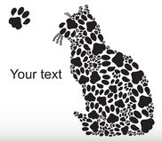 Silhouette of cat from the cat tracks Royalty Free Stock Images
