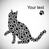 Silhouette of cat from the cat tracks Stock Photography