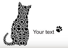 Silhouette of cat from the cat tracks Royalty Free Stock Photo