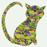 Silhouette of a cat with a color pattern.  Royalty Free Stock Photos