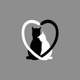Silhouette of cat couple in love with shape heart tails Stock Image