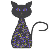 Silhouette of a cat with delicate lilac flowers Royalty Free Stock Photography