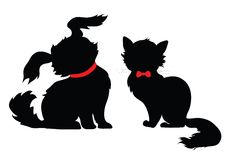 The silhouette of cat and dog Royalty Free Stock Photos