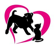 Silhouette of a cat and a dog. Isolated illustration on white background. Vector 2D Stock Photo