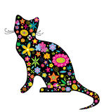 A silhouette of a cat with flowers royalty free illustration