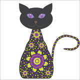 Silhouette of a cat with flowers on a white backgr Royalty Free Stock Images