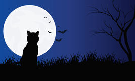 Silhouette of cat with full moon Halloween scenery  Royalty Free Stock Photo