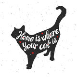 Silhouette of a cat. Hand drawn typography poste Stock Image