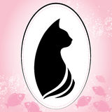 Silhouette of a cat head in round frame.  Stock Photography