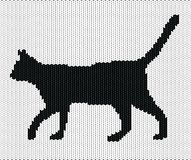 Silhouette of cat from knitted texture Royalty Free Stock Photography