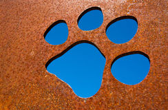Silhouette of a cat paw Stock Image