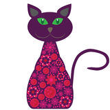 Vector silhouette of a cat with pretty flowers on  Royalty Free Stock Photography