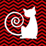 Silhouette cat with red and black chevron background. A silhouette cat with red and black chevron background Stock Photography
