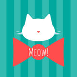 Silhouette of a cat`s head. Bow and text Meow! Background with vertical stripes. Royalty Free Stock Photography