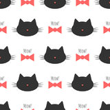 Silhouette of a cat`s head, bow, text Meow! Seamless pattern. Pink, black, cream color Stock Photos